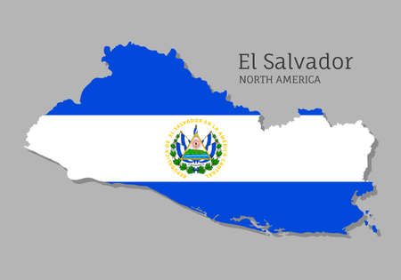 Map of El Salvador with national flag. Highly detailed editable map of North America country territory borders. Political or geographical design vector illustration on gray background