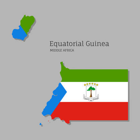 Map of Equatorial Guinea with national flag. Highly detailed map of Middle Africa country with territory borders. Political or geographical design vector illustration on gray background Иллюстрация