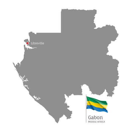 Silhouette of Gabon country map. Gray editable map with waving national flag and Libreville city capital, Middle Africa country territory borders vector illustration on white background