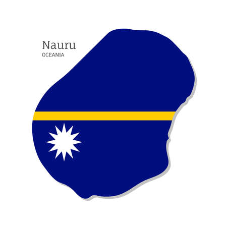 Map of Nauru with national flag. Highly detailed editable map of Oceania territory borders. Political or geographical design vector illustration on white background Иллюстрация