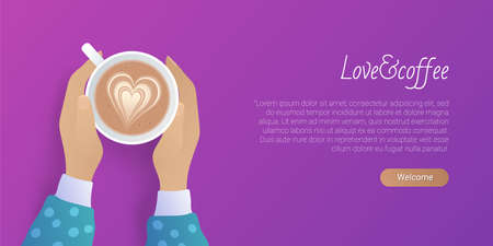 Love coffee landing page template. Coffeehouse, cafe website interface. Top view of female hands holding cup of cappuccino. Coffee break, lunch time concept flat vector illustration Ilustracja