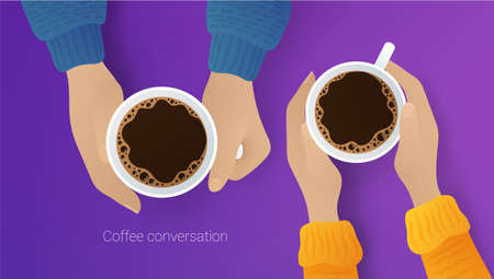 Couple of friends drinking coffee. Top view of male and female hands grasping ceramic cups of aroma beverage. Coffee conversation, break, meeting, relaxing, coffee shop flat vector illustration Ilustracja