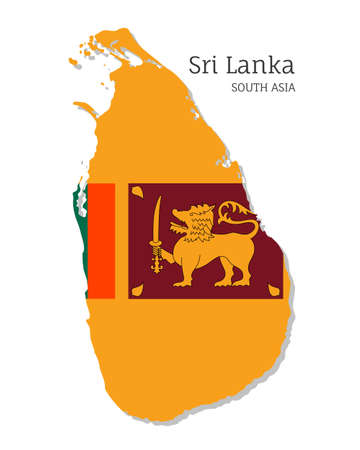 Map of Sri Lanka with national flag. Highly detailed editable map of , South Asia country territory borders. Political or geographical design element vector illustration on white background