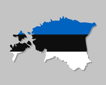 Estonian flag on the map. High detailed Estonia map with flag inside. European country borders vector illustration on light gray background