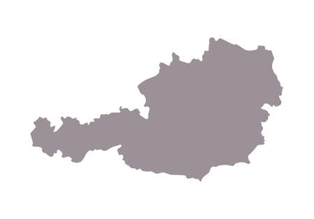 Austria blank map silhouette. High detailed editable gray map of Austria, European country vector illustration on white background