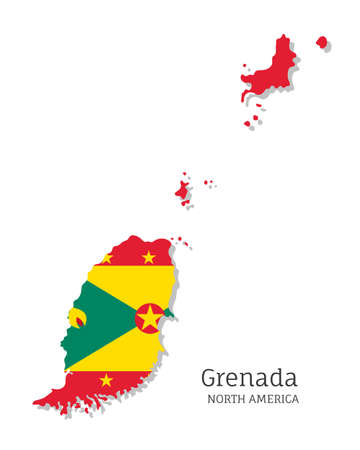 Map of Grenada with national flag. Highly detailed editable map of Grenada, North America country territory borders. Political or geographical design element vector illustration on white background
