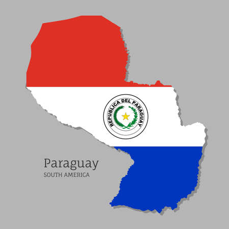 Map of Paraguay with national flag. Highly detailed editable Paraguayan map, South America country territory borders. Political or geographical design vector illustration on gray background