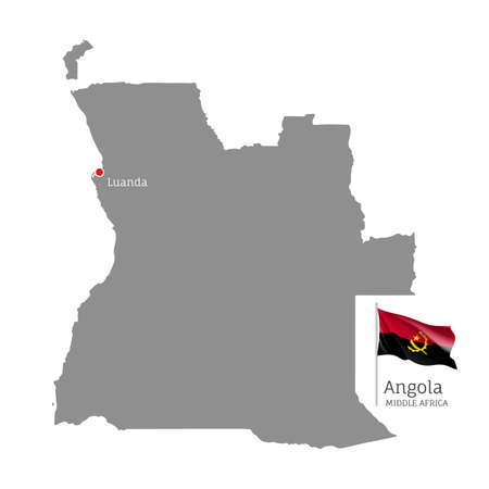 Silhouette of Angola country map. Gray editable map with waving national flag and Luanda city capital, Middle Africa country territory borders vector illustration on white background