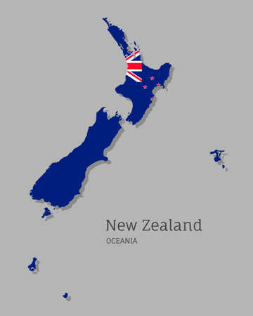 Map of New Zealand with national flag. Highly detailed editable map of Oceania country territory borders. Political or geographical design vector illustration on gray background