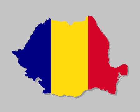 Highly detailed map of Romania with flag. Silhouette of European country map with Romanian flag inside vector illustration on light gray background