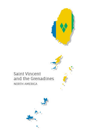 Map of Saint Vincent and Grenadines national flag. Highly detailed editable map of North America country territory borders. Political or geographical design vector illustration on white background