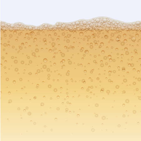 Champagne drink with bubbles background. Fizzy carbonated soda water drink, elegant sparkling repeating print. Poster, banner design element realistic vector illustration