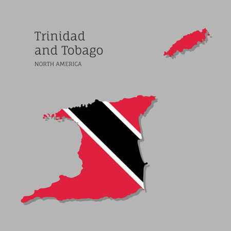 Map of Trinidad and Tobago with national flag. Highly detailed editable map of North America country territory borders. Political or geographical design vector illustration on gray background