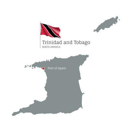 Silhouette of Trinidad and Tobago country map. Gray editable map with waving national flag and Port of Spain capital, North America country territory borders vector illustration on white background