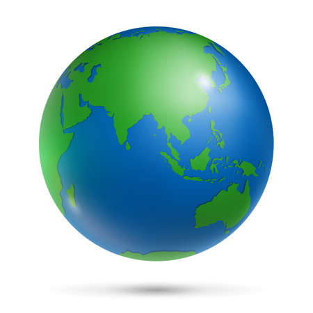 Earth globe with green continents and blue oceans Vector Illustration