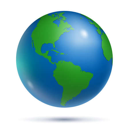 Earth globe with United States America continents Vector Illustratie