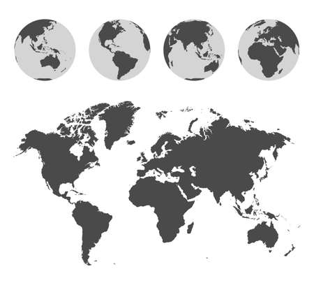 Monochrome world map and Earth globes set