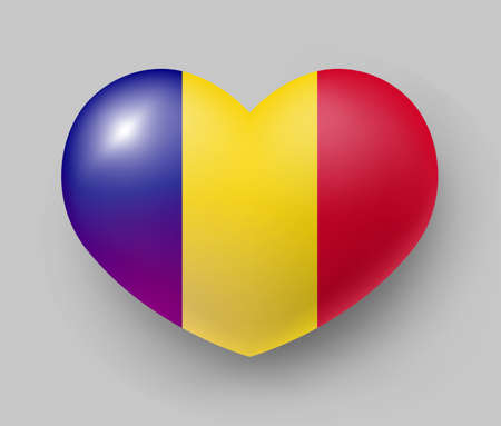 Heart shaped glossy national flag of Romania. European country national flag button, Symbol of Rumania in patriotic colors realistic vector illustration on gray background