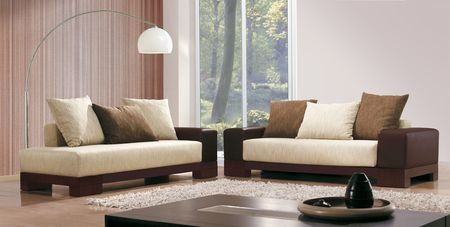 classic furniture: studio photo shoot of a modern living room  Stock Photo