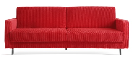 couch: cutout red modern couch Stock Photo