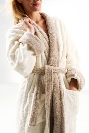 bath robe: woman in bath robe