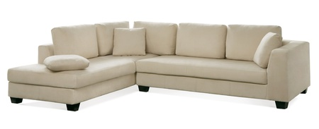 cutout white leather couch