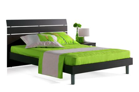 bedroom furniture: cutout bed Stock Photo