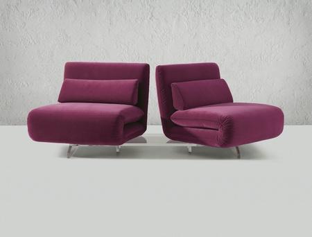 modern purple folding chair Stock Photo