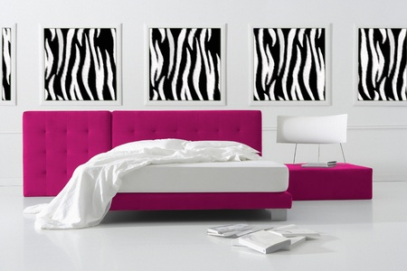 minimal zebra bedroom photo