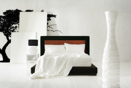 minimal black tree bedroom Stock Photo - 12521215