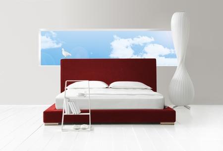 minimal bedroom with view photo