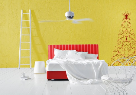 minimal Christmas bedroom Stock Photo
