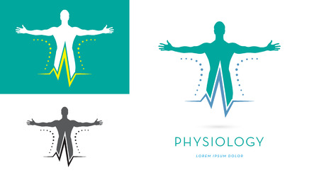 MANS SILHOUETTE WITH OPES ARMS, HEARTRATE, VECTOR LOGO  ICON, PHYSIOLOGY LOGO TEMPLATE, PHYSICAL THERAPY, ATHLETE HEALTH