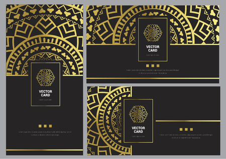 Luxury Black and Gold Card Template Set Vector Illustration