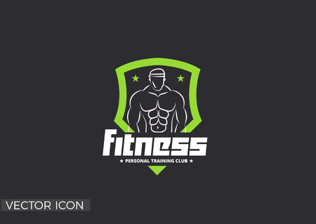 FITNESS LOGO TEMPLATE, BADGE, SHIELD FRAME, MUSCLE BODY, MAN'S SILHOUETTE, GYM LOGO, TRAINING VECTOR ICON