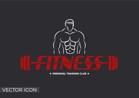FITNESS LOGO TEMPLATE, BARBELL, MUSCLE MAN'S SILHOUETTE, BODY BUILDING ICON