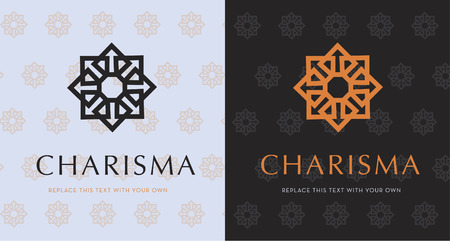EIGHT POINT STAR , ELEGANT VECTOR LOGO DESIGN, BEAUTY DECORATIVE LOGO TEMPLATE, ORANGE & PURPLE 일러스트