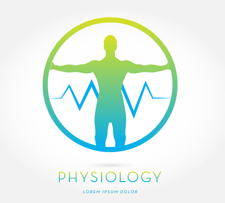 MAN'S SILHOUETTE WITH OPEN ARMS , HEART RATE LINE , INSIDE A CIRCLE, VECTOR ICON / LOGO , BLUE GREEN AND LIME COLORS , ON WHITE BACKGROUND, HEALTH, PHYSICAL THERAPY
