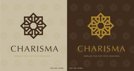 EIGHT POINT STAR , ELEGANT VECTOR LOGO DESIGN, BEAUTY DECORATIVE LOGO TEMPLATE, GOLD & BROWN
