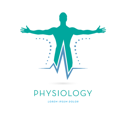 MANS SILHOUETTE WITH OPES ARMS, HEAR RATE LINE, VECTOR LOGO  ICON, HEALTH, PHYSICAL THERAPY LOGO TEMPLATE
