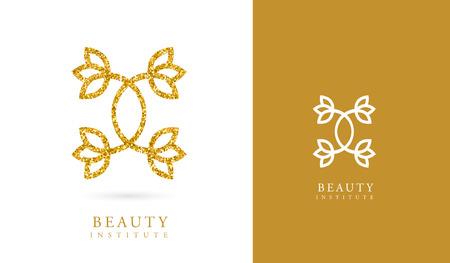 Symbole décoratif, MODÈLE DE LOGO, FLEUR, LOTUS, LOGO SPA, OR MINIMAL Logo