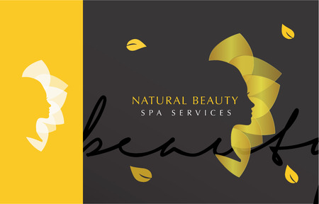 LUXURY VECTOR LOGO  ICON DESIGN OF A WOMANS FACE WITH GOLDEN LEAFS , SPA, BEAUTY, WOMAN LOGO TEMPLATE