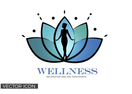 Silhouette di donna in fiore di loto, benessere, Spa, modello di logo di guarigione