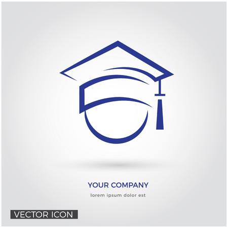 GRADUATION CAP, EDUCATION LOGO TEMPLATE, HEAD SILHOUETTE, KNOWLEDGE ICON