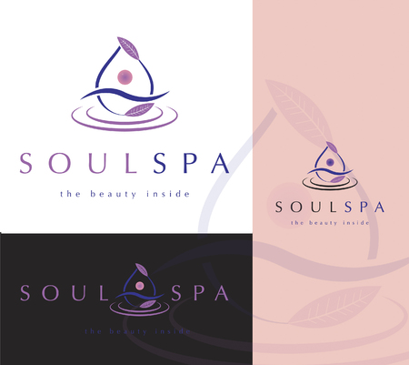 Beautiful vector Spa logo design , element of water, leaves, abstract human silhouette Banque d'images - 109823904
