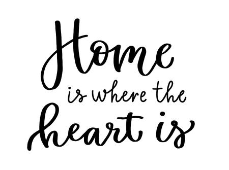 Calligraphic inscription Home is where the heart is where the heart is. Lettering in black. Standard-Bild