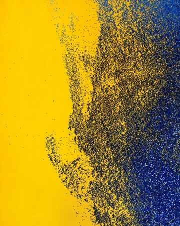 Abstract blue and yellow background. Bright background for your design. Contrasting color.