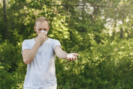 fuzz: young man suffering spring pollen allergy. Sneezing into a white handkerchief, holding a sprig with fuzz.