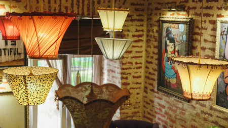 floor cloth: floor lamps hanging upside down in the room, lamp made of cloth, the lights