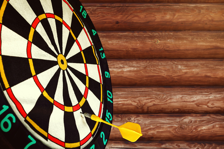 Dart missed the center of the target Darts. Mistake and error